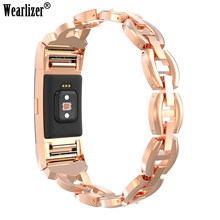 Crystal Stainless Steel Watch Band Wrist Strap Smart Bracelet Wearable Belt Strap with Rhinestone For Fitbit charge 2 hr 2(China)