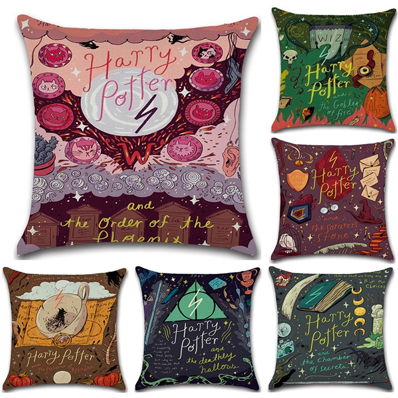Classic Magic Theme Story Pillow Case Harry Potter Cotton Linen Cushion Cover Kids Room Decoration Throw Pillowcase Home Decor
