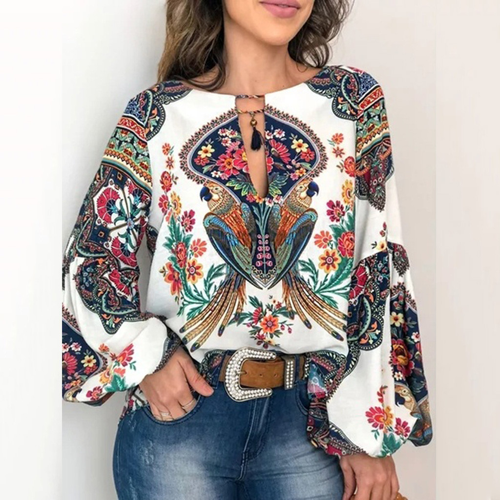 Glamaker Sexy Boho Print Chiffon Blouse Shirt Women Long Latern Sleeve V Neck Elegant Female Summer Tops Fashion Loose Blouse