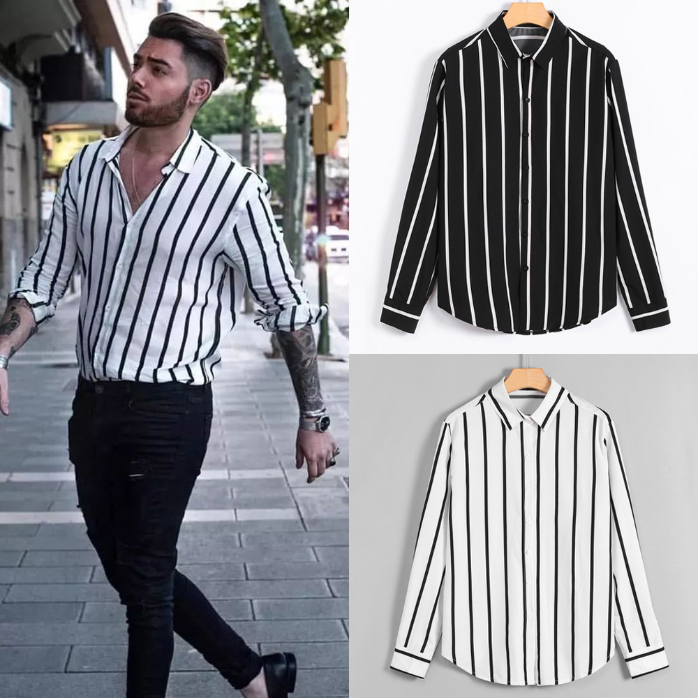 modis Mens Fashion Shirts Casual Long Sleeve Striped Tops Loose Casual Blouse Zebra striped shirt #g8