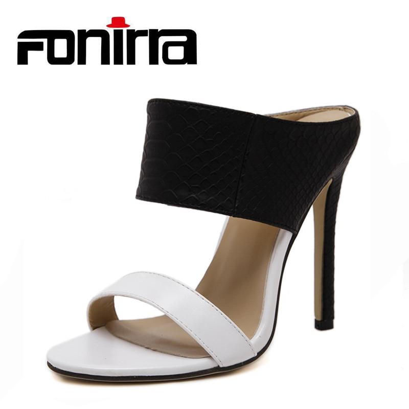FONIRRA модные летние Босоножки на высоких каблуках Для женщин змея зерна узор черные офисные шлепанцы, Большие размеры 35-40 элегантная женская ...