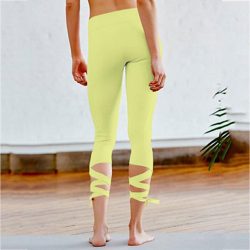 2017 New Style Cross Yoga High Waist Inspired Ballet Dance Sporting Leggings Fitness Tight Bandage Yoga Cropped Women Pants T26