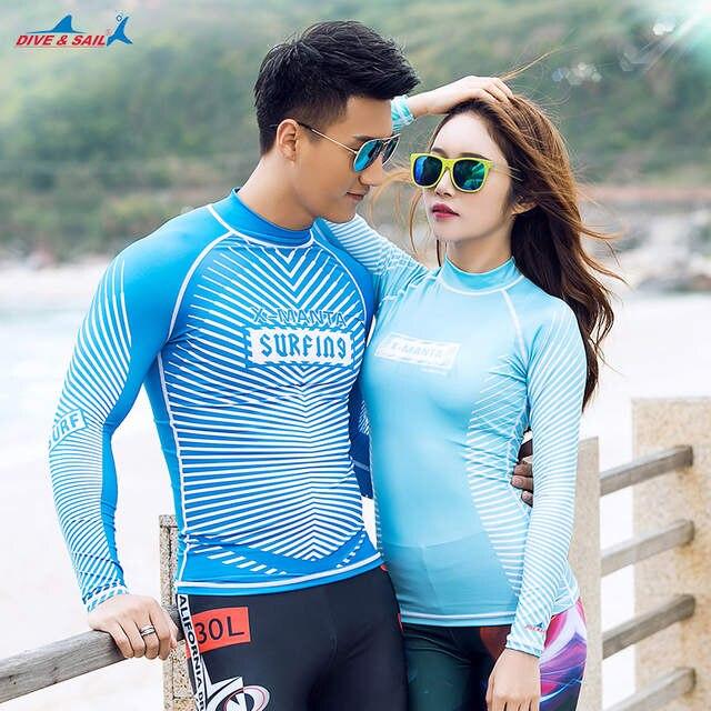 b399915399 DIVESAIL rash guard shirts for match couples swimwear long sleeve surf shirt  beachwear