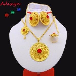 Комплект ювелирных изделий Adixyn, комплект ювелирных изделий из 24K золота с кристаллами, ожерелье/Подвеска/цепь для волос/серьги/кольцо, сереж...