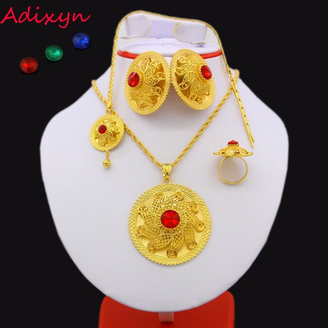 2017 Ethiopian Jewelry set 24K Gold Color Crystal Necklace/Pendant/Hair Chain/Ea
