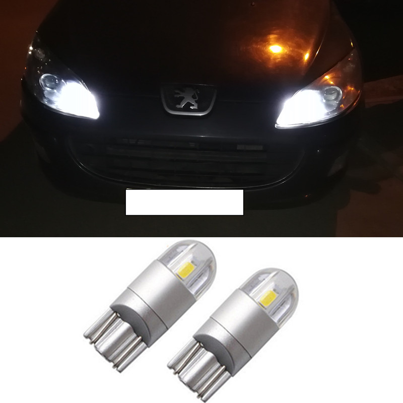 2X T10 <font><b>LED</b></font> W5W 194 168 Car Light Bulbs Car Clearance Parking Light For <font><b>Peugeot</b></font> 206 207 307 407 2008 3008 301 406 507 <font><b>208</b></font> image
