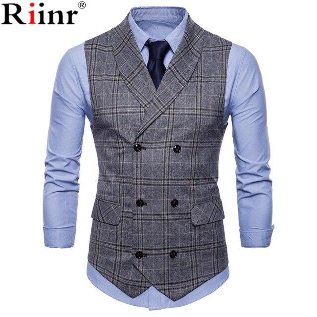 Neue Ankunft Kleid Westen Für Männer Slim Fit Herren Anzug Weste Männlichen Weste Gilet Homme Casual Ärmellose Formale Business Jacke