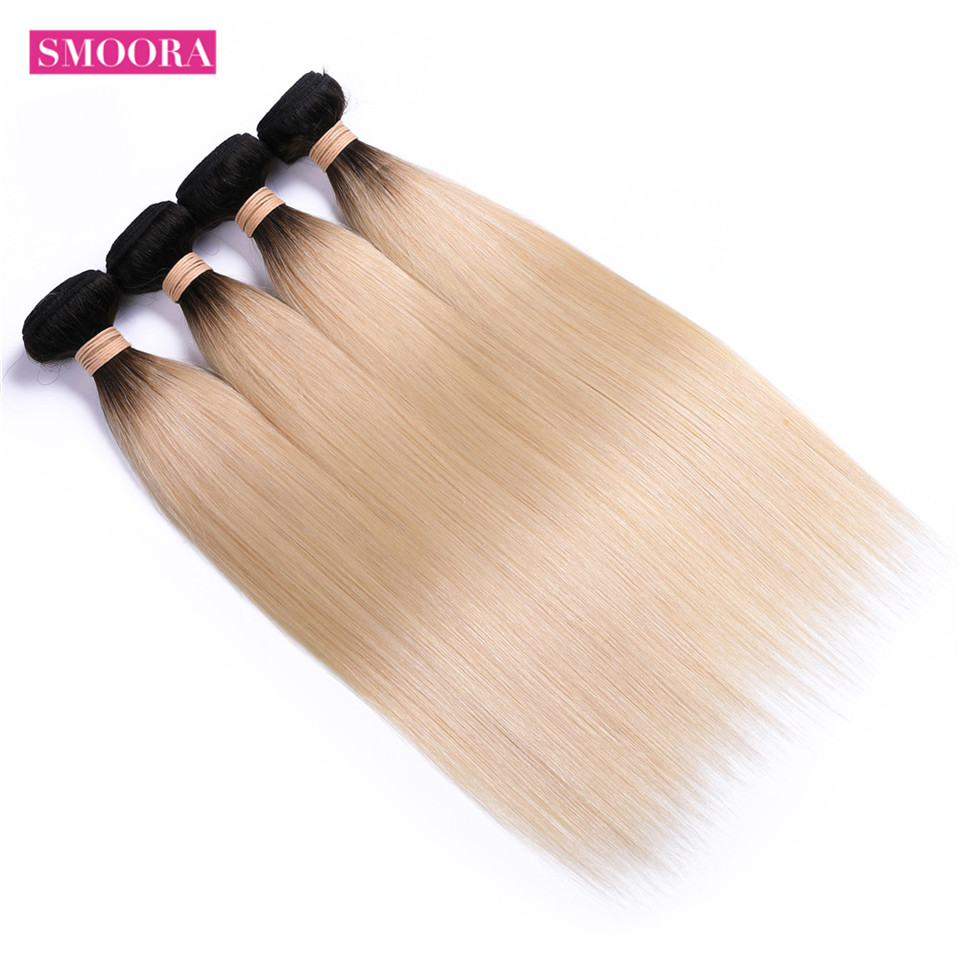 4 Bundles Deal Ombre Color Hair 613 Blonde Dark Roots Brazilian Straight Human Hair Extensions 2 Tone Ombre Hair Smoora Non Remy