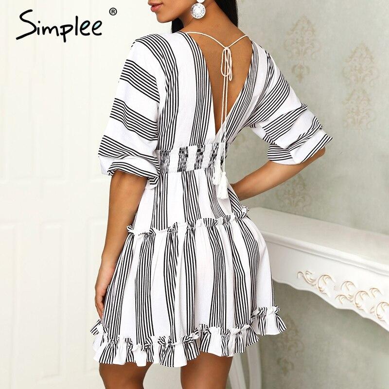 Simplee V шеи Полосатое летнее платье со складками женское платье с эластичным поясом плюс размер винтажное Белое и черное Женское vestidos