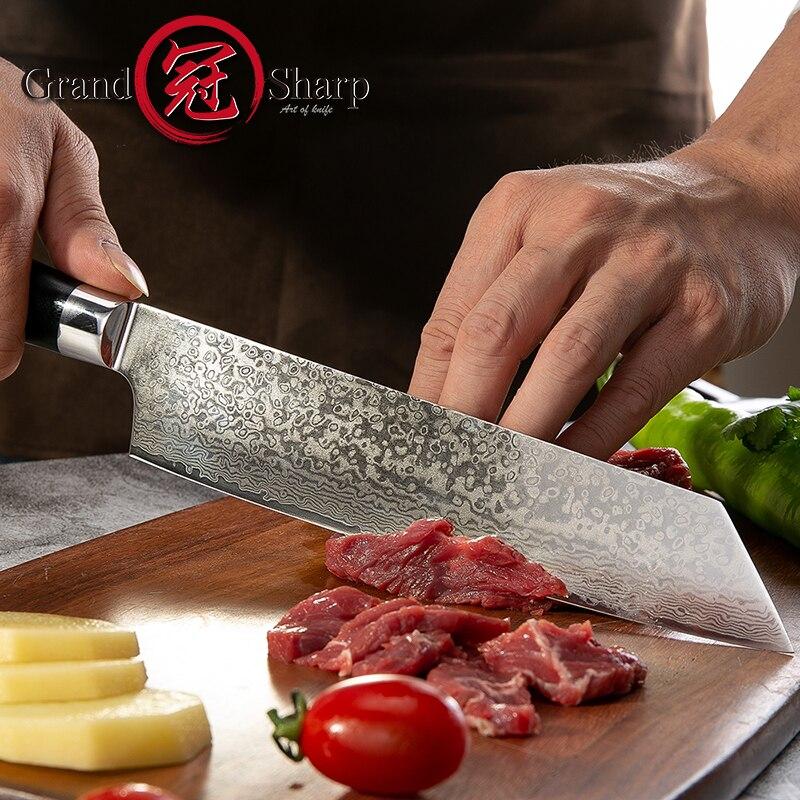 Grandsharp 8 Inch Keuken Chef Mes Damascus Staal Japanse Keukenmessen VG10 Japanse Roestvrij Staal Koksmes Koken-in Keukenmessen van Huis & Tuin op  Groep 1