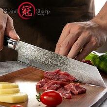 Grandsharp 8 дюймов Кухня поварской нож дамасская сталь Сталь японский Кухня ножи VG10 японский, из нержавеющей стали шеф-повар Ножи Пособия по кулинарии