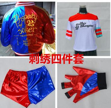 Free Shipping New Girls Kids Suicide Squad Harley Quinn JOKER cosplay Costume Outfit Set halloween children gift jacket costumes