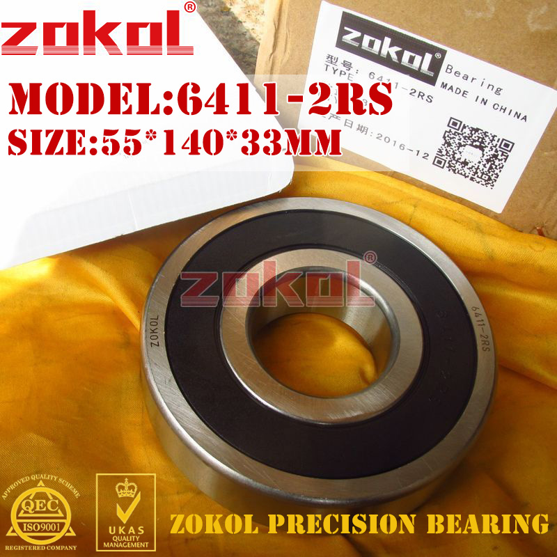 ZOKOL 6411RS bearing 6411 2RS 180411 6411-2RS Deep Groove ball bearing 55*140*33mm btc 6411