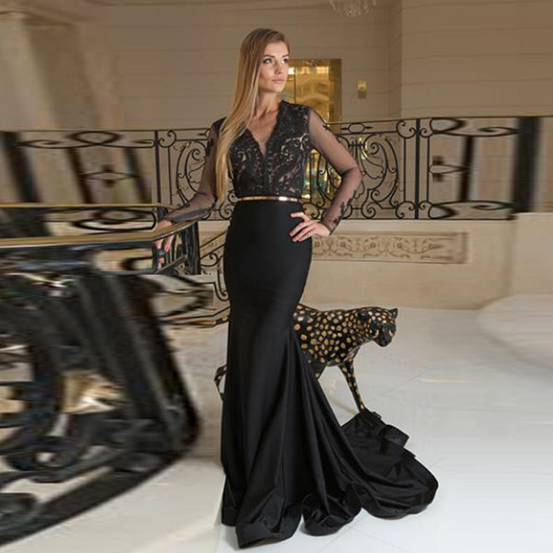 2018 Vestido Longo Black Formal Dress Long Sleeves No Belt Gold abiye gece elbisesi Prom Gown Mermaid See Through Bodice Lace