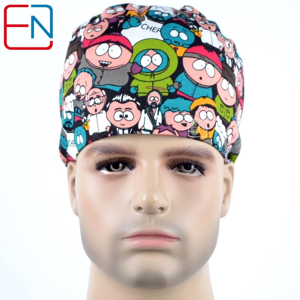 Hennar New Cotton Scrub Hats Masks Men Cartoon Print Hospital Medical Hats Adjustable Surgical Caps Medical Accessories For Men