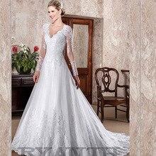 Cheap Long Sleeves Vestido de noiva 2019 Custom Made V Neck Lace A Line Wedding Dress Luxury Shinning Robe mariee