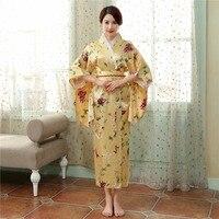 Shanghi História estilo Japonês tradição vestido de tecido De Seda Do Falso Do Vintage Kimono Yukata Kaftan vestido de quimono japonês tradicional