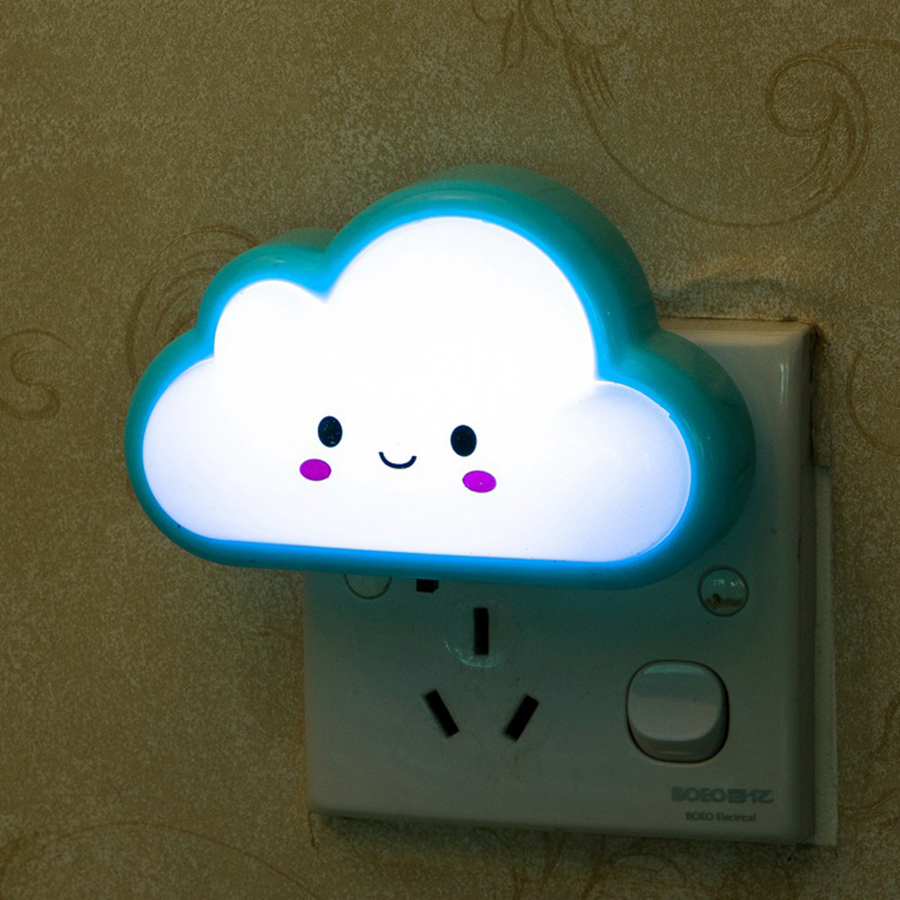 Cartoon Cloud Design LED Night Lights Baby/Kids/Children Bedside Lamp with AC110V 220V Plug Bedroom Mini Light Pink/Blue/Yellow artpad pink blue cartoon figures led unicorn lamp e14 resin dimming eu us plug in kids baby night light for children