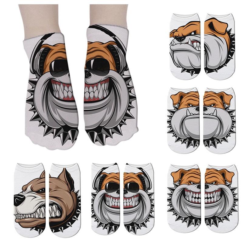Women Fashion Animals Print Socks Women Cartoon Pattern Dog Kawaii Short Cotton Socks expression Low Cut Ankle Socks 7S ZAS17