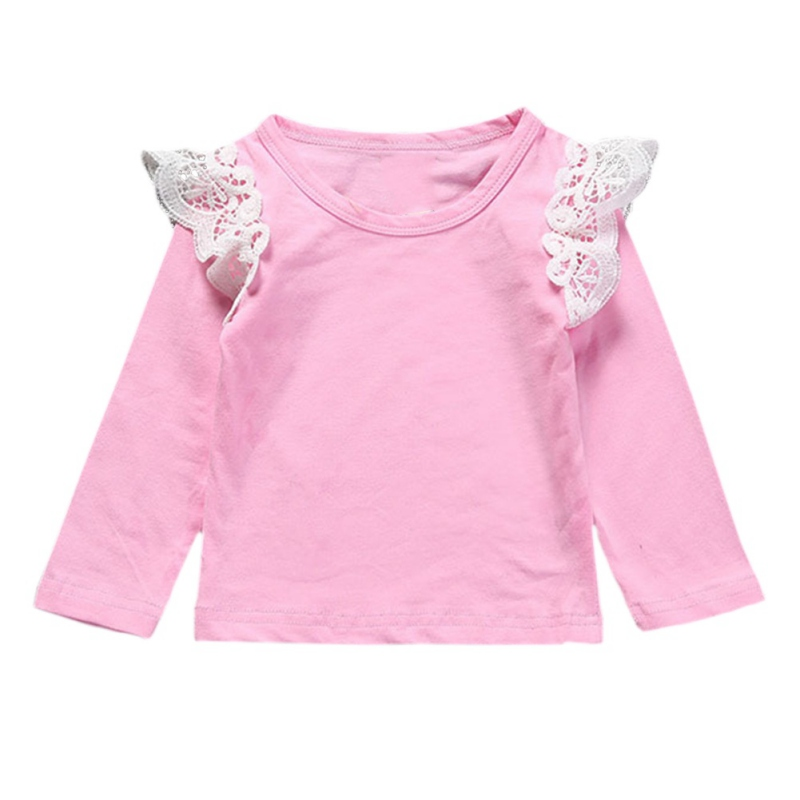 >Solid <font><b>Color</b></font> Autumn Newborn Baby Girls Toddler Kids Clothes Cotton Lace Long Sleeve T-shirts Tops <font><b>Outfit</b></font> Blouse 4 <font><b>Colors</b></font> j2