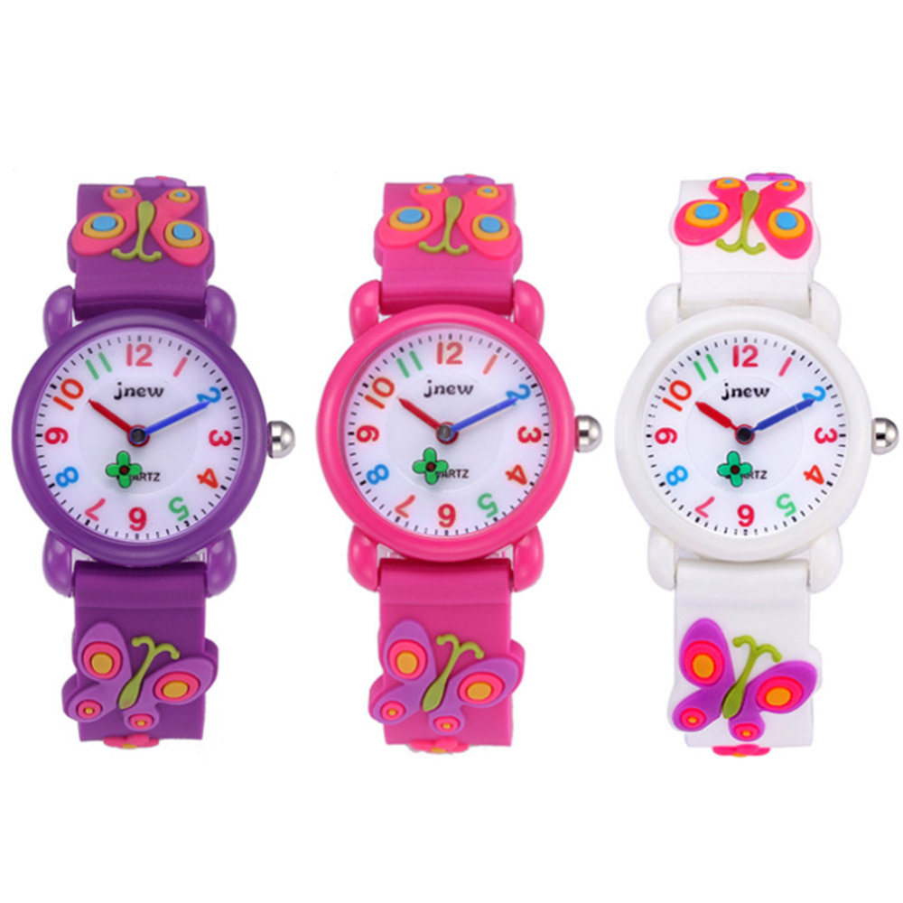 3D Cartoon Butterfly Flower Kid Watch Silicone Straps Children's Watches Quartz Wristwatches Baby Girls Cute Clock Montre Enfant
