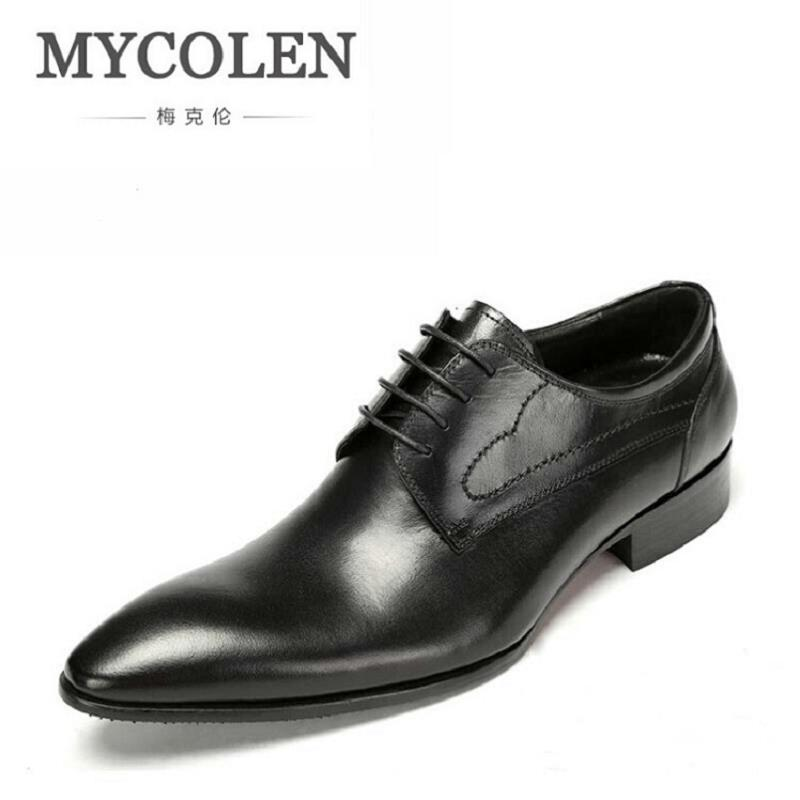 MYCOLEN Italian Style Autumn Genuine Leather Lace Up Men Formal Shoes Wedding Party Pointed Toe Business Dress Shiny Footwear patent leather men s business pointed toe shoes men oxfords lace up men wedding shoes dress shoe plus size 47 48