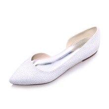 Elegante 3D glitter spitz weiß elfenbein D'orsay wohnungen frau Casual hochzeit brautschuhe party prom slip auf leere seite flache