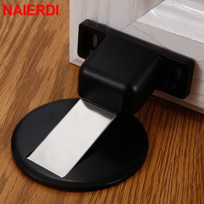 NAIERDI Magnetic Door Stops Zinc Alloy Door Stopper Hidden Door Holders Catch Floor Nail-free Doorstop Furniture Hardware