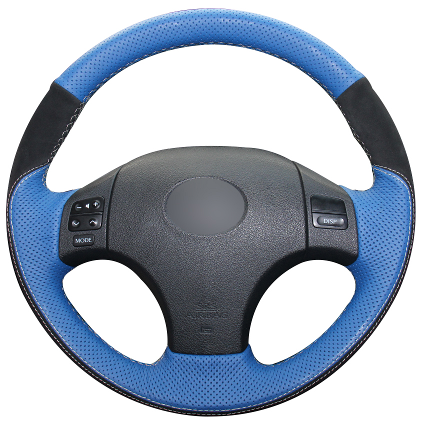 Blue Natural Leather Black Suede Car Steering Wheel Cover for Lexus IS IS250 IS250C IS300 IS300C
