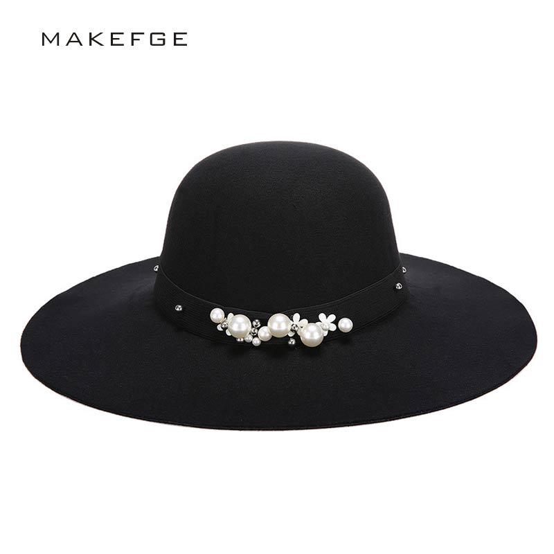 Fedora Hats For Women Wool Hat Wide Brim Wool Felt Bowler Fedora Floppy Chapeau Femme Vintage Winter Hats Top Cap Panama