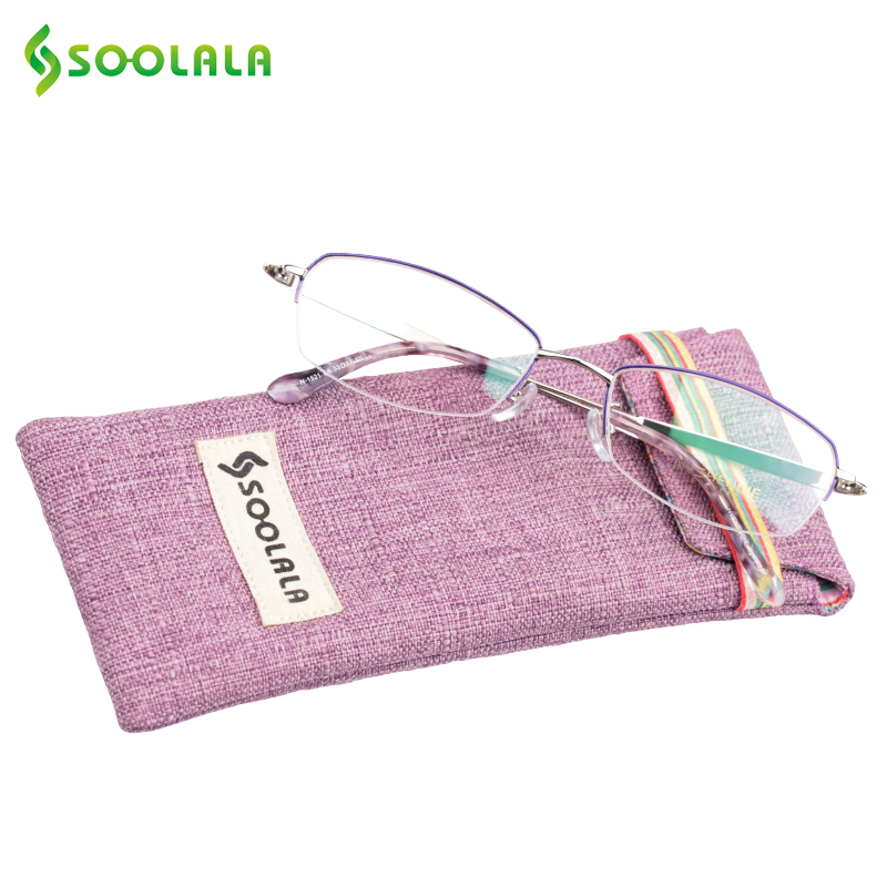SOOLALA Womens Titanium Frame Semi-Rimless Reading Glasses Alloy Carved Arms Ladies Reading Glasses +1.0 1.5 2.5 to 4.0 4.5 5.0