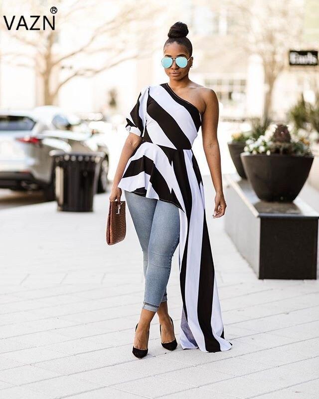 VAZN Nouveau Arrivent Meilleur Qualité 2018 Style Femmes Robe Rayé Une Épaule Moitié Manches Femmes Asymétrique Maxi Robe Robe L0183