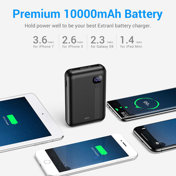 DIVI 10000mAh Power Bank For iPhone Xs Samsung S9 External Battery Pack Mini Portable LCD Power Bank Dual USB Charger Poverbank