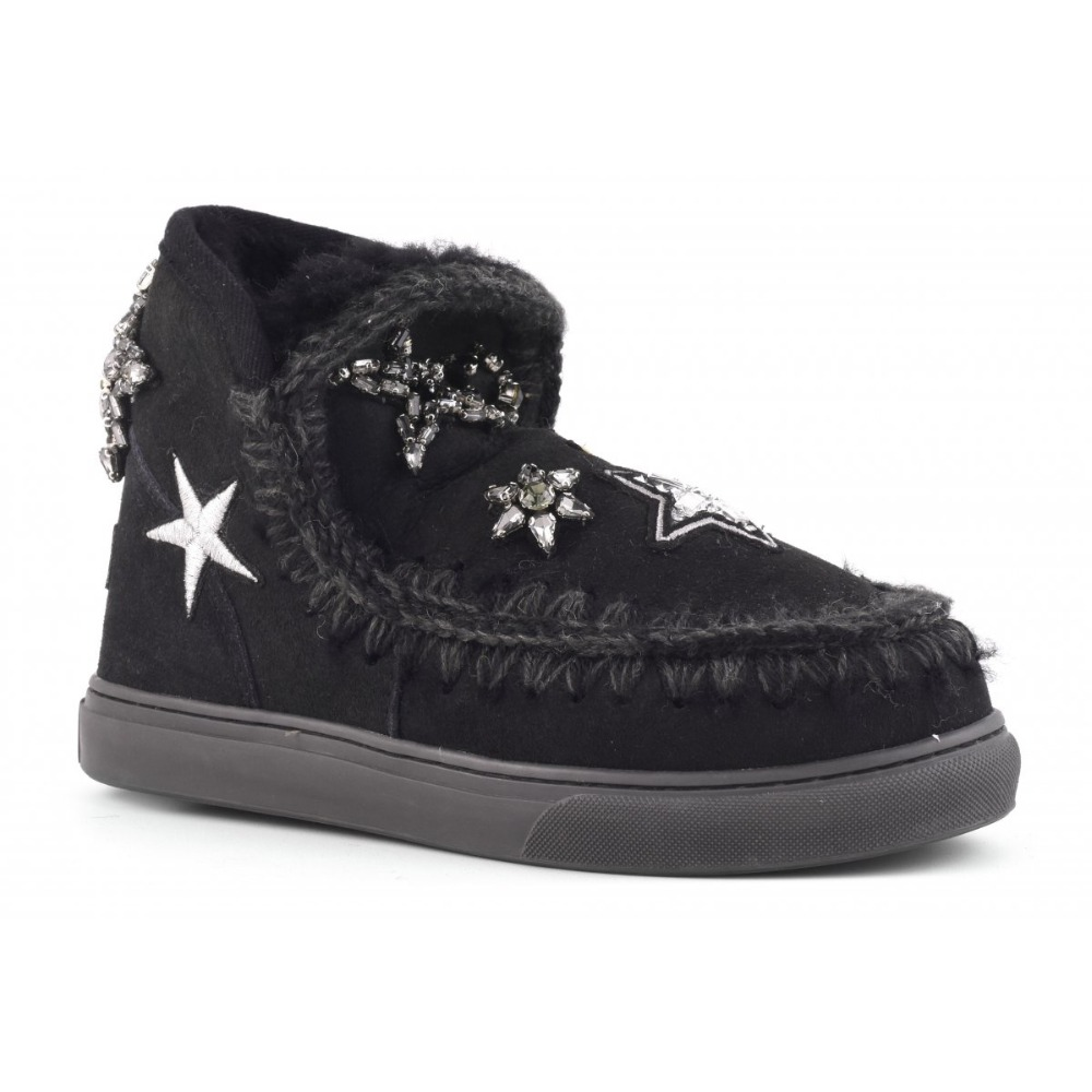 Sutopean New Winter Women MOU Snow Boots 100% Sheepskin with Fur Star Crystals and Patches Wedge Mujer Botas feminine sneakers