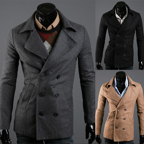 Brand British Double Breasted Long Sleeve Wool Dress Coat Men ...