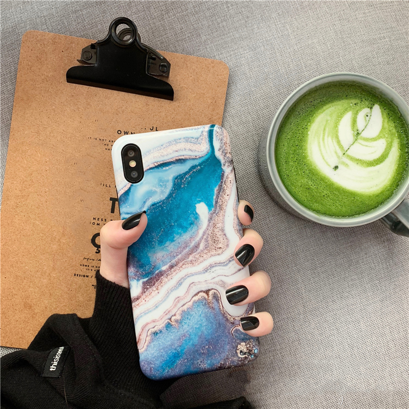 Blue glitter ink painting marble Phone cases for iPhone 7 plus case Matte Soft TPU case for iphone 6s 6 7 8 plus XR XS Max cover in Fitted Cases from Cellphones Telecommunications