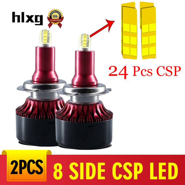 hlxg 13500LM 24Pcs CSP LED H8 H11 Fog lights H27 880 881 9012 H7 led headlight h1 h3 led bulb car fog light 12V automotivo 5202