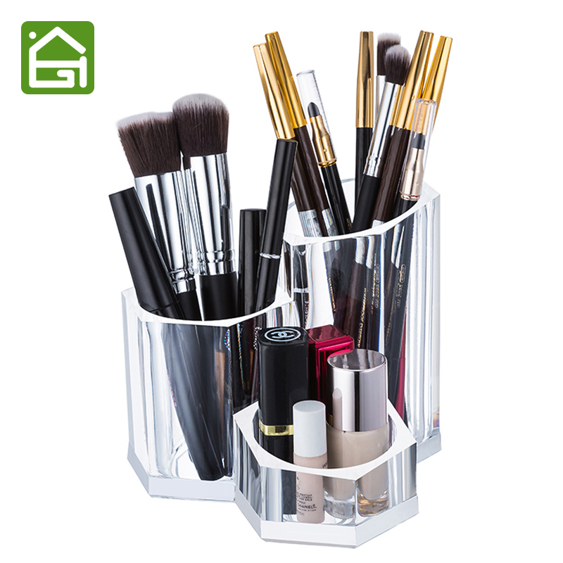 clear acrylic makeup brush holder cosmetic organizer box for lipstick eyeliner pencil nail. Black Bedroom Furniture Sets. Home Design Ideas