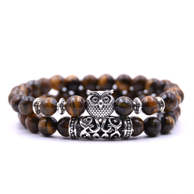 Natural stone animal owl  bracelets For Women Men Cool hot Selling 1