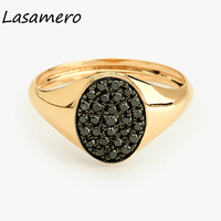 LASAMERO Round Cut 0.40CTW Oval Shape Natural Black Diamond 14k Gold Double Halo Rock Punk Vintage Ethnic Ring Signet Ring
