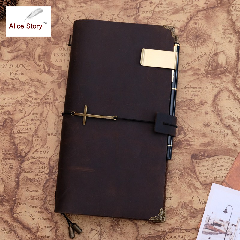 Alice Story Genuine Leather Traveler's Notebook Cross Pendant Diary Vintage Handmade Cowhide Gift Travel Notebook Hot Sale 2017 hot sale death note notebook