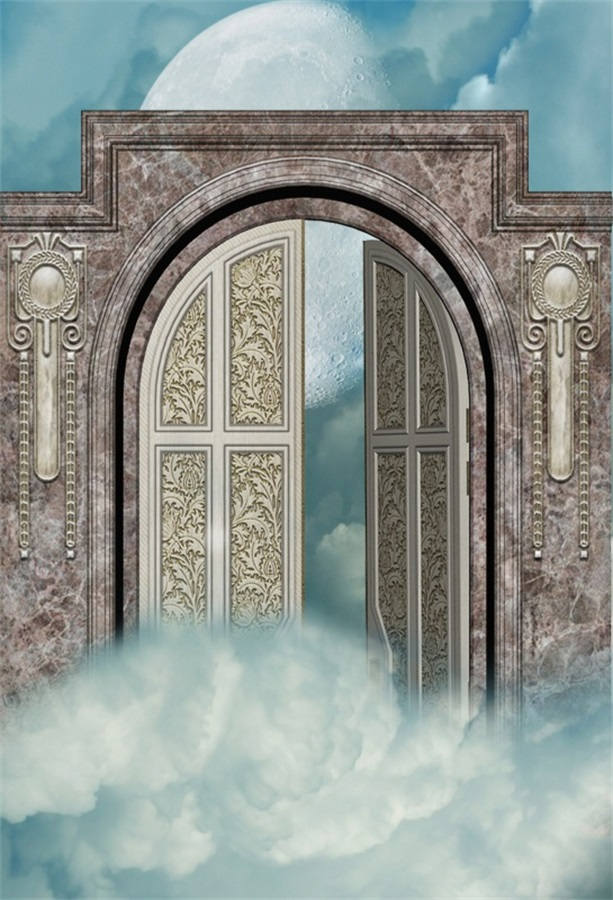 Laeacco Moon Cloudy Wonderland Open Gate Scene Photography Backdrops Vinyl Photo Backdrops Custom Backgrounds For Photo Studio