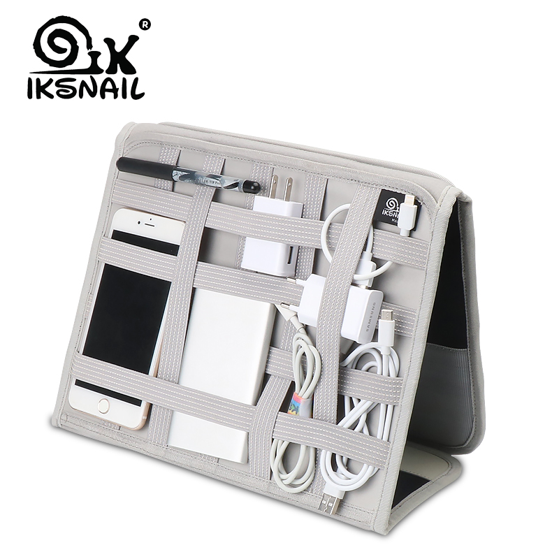 IKSNAIL Elastic Storage Plate Notebook Mouse Mobile Hard Disk Data Cable Headset Charger Digital Storage Board Nylon For Tablet
