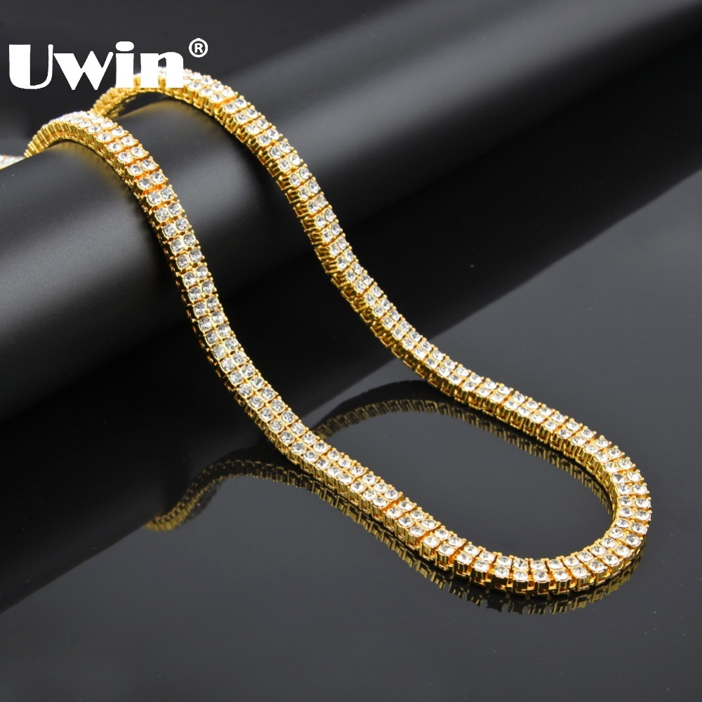UWIN Hip Hop Iced out 2 Row Pharaoh Crystal Bling Bling Cuban Necklace Chain Gold Color Big Statement Necklaces For Men
