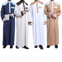 3xl Big Size Thobe For Men Islamic Men Clothing Fashion Mandarin Collar Long Sleeve Abaya For Men Autumn Loose Abaya Hombre Blue