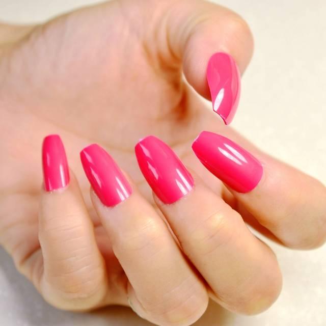 Online Shop 24pcs Hot Pink Coffin Long Nails False Nail Full Cover