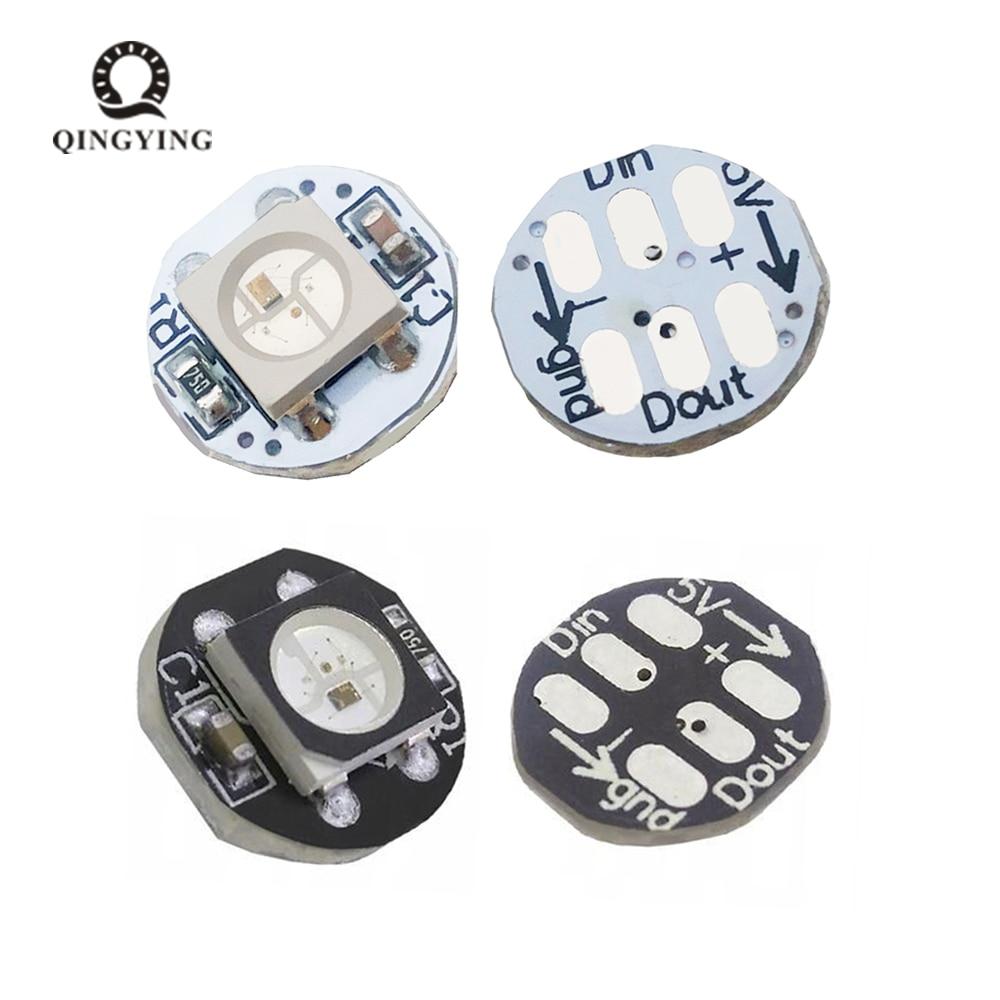 цена на 10pcs-50pcs WS2812B WS2812 LED Chip 5050 SMD RGB DC5V With Black / White PCB Board Heatsink 9.6mm Diameter WS2811 IC Built-in