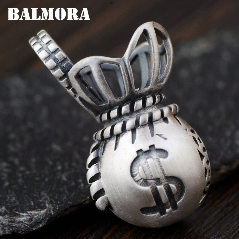 BALMORA 100% Real 990 Pure Silver Purse Pendants for Women Men Charms Accessories Thai Silver Jewelry Without a Chain SY14357 men without women