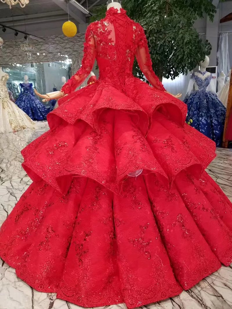 Image 2 - LS11290 ball gown evening dresses high neck long sleeves lace up back rose wedding party dresses pleat multi layer vestido longoEvening Dresses   -