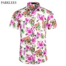 قمصان هاواي رجالي الاستوائية الوردي الأزهار الشاطئ قميص الصيف قصيرة الأكمام عطلة الملابس عادية هاواي قميص الرجال USA حجم XXL